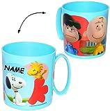 """Trinkbecher / Henkeltasse - """" the Peanuts / Snoopy """" - incl. Name - aus Kunststoff - Plastik - Tasse mit Henkel - Kindertasse / Kinderbecher - Trinktasse für Kinder & Baby - Trinklerntasse / Kleinkinder - Kindergeschirr - Becher Jungen & Mädchen - Henkelbecher - Charlie Brown - Woodstock Beagle Hund / Campingtasse / Campinggeschirr"""