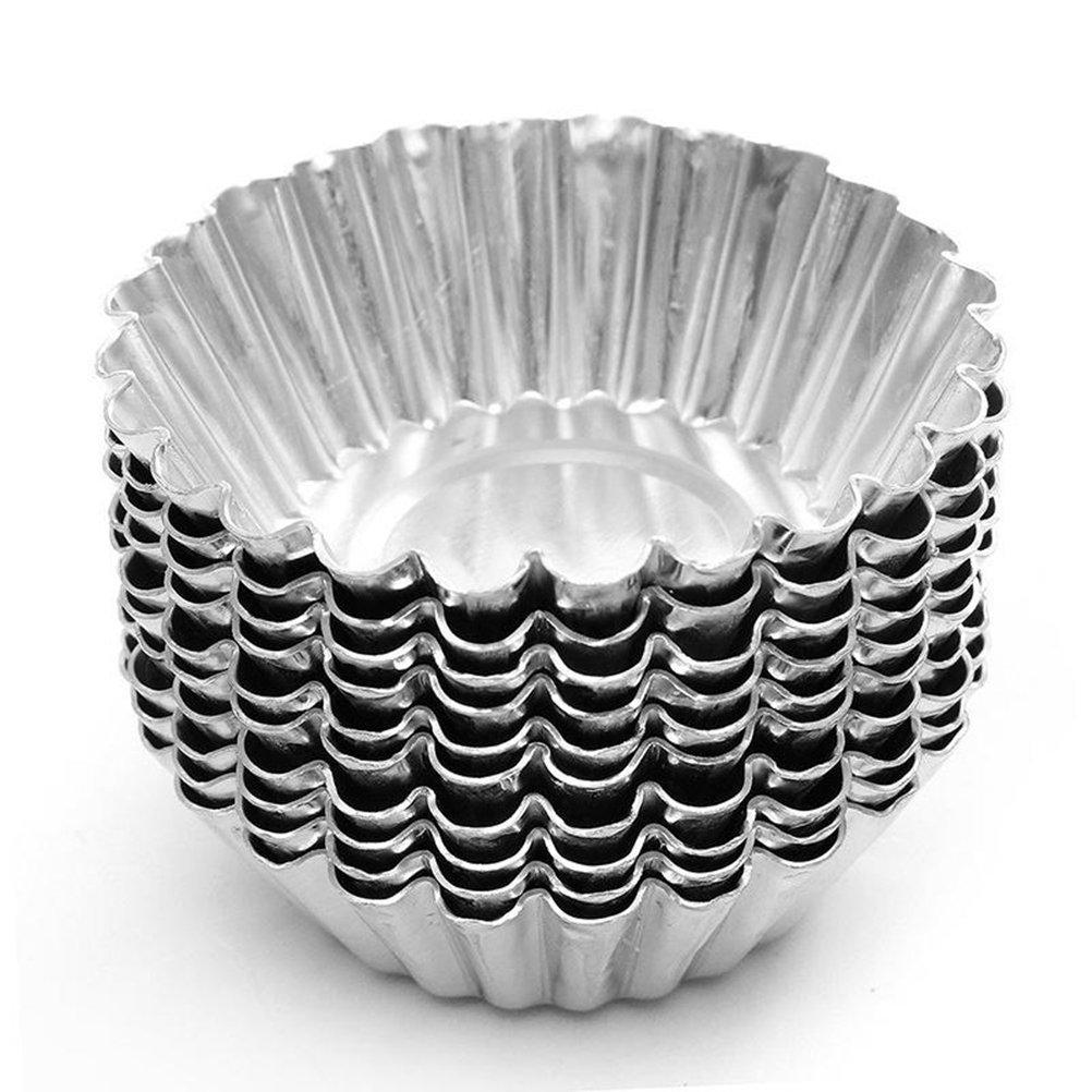 BESTOMZ 10pcs Moldes para magdalena - aluminio moldes del mollete de la torta molde del huevo de la torta para cocer al horno: Amazon.es: Hogar