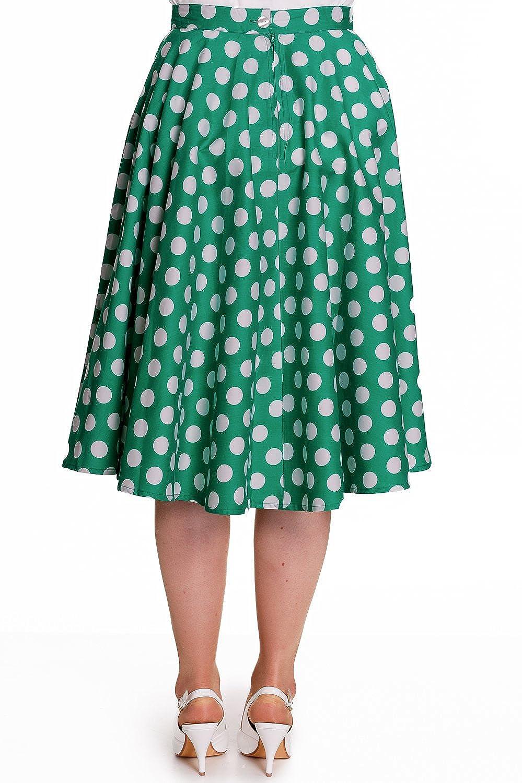 Hell Bunny 50s Plus Dots Love Green White Polka Dot Mariam Circle Swing Skirt