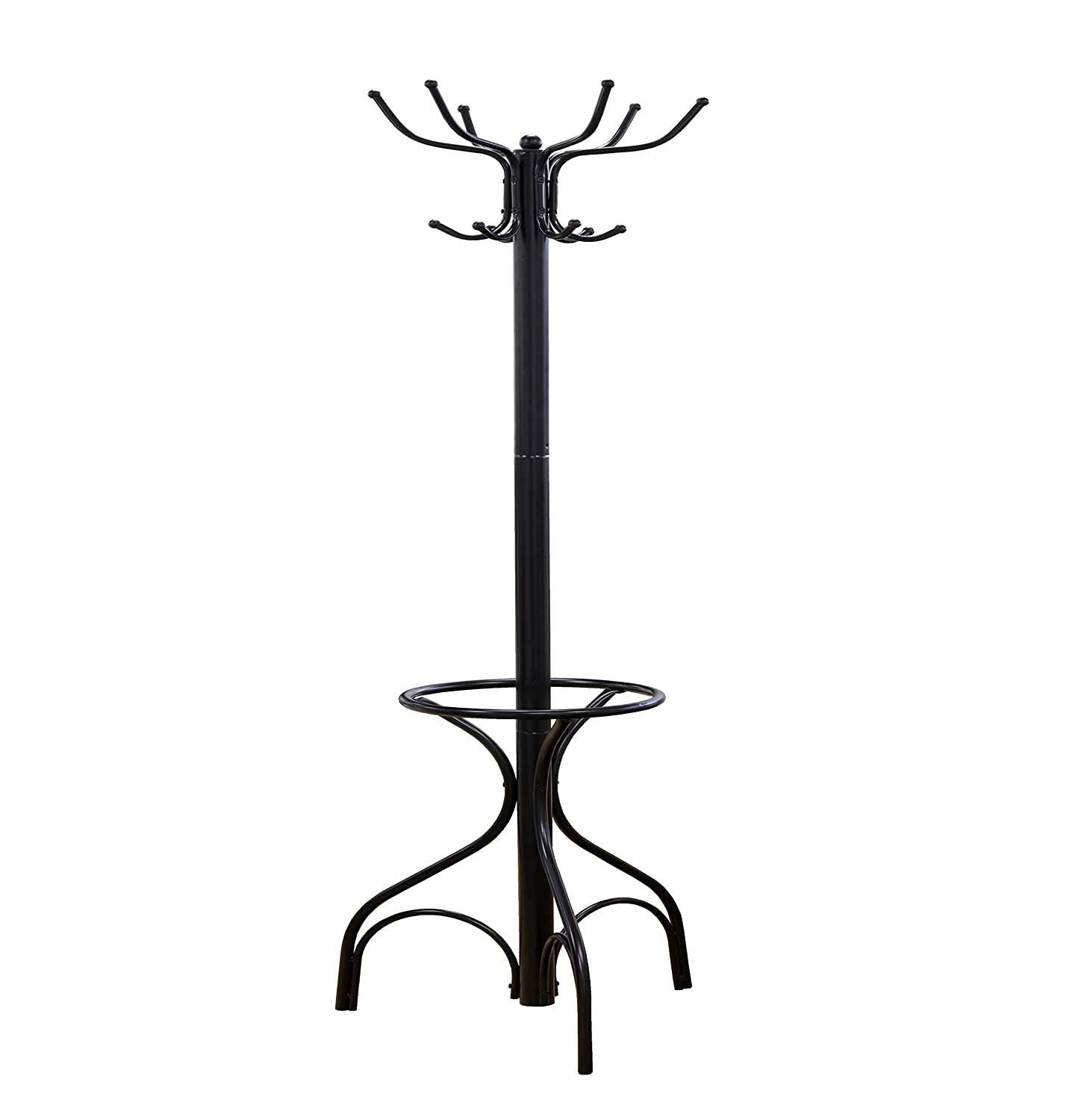 Frenchi Home Furnishing Metal Coat Rack with Umbrella Stand, Black Frenchi Furniture CR004
