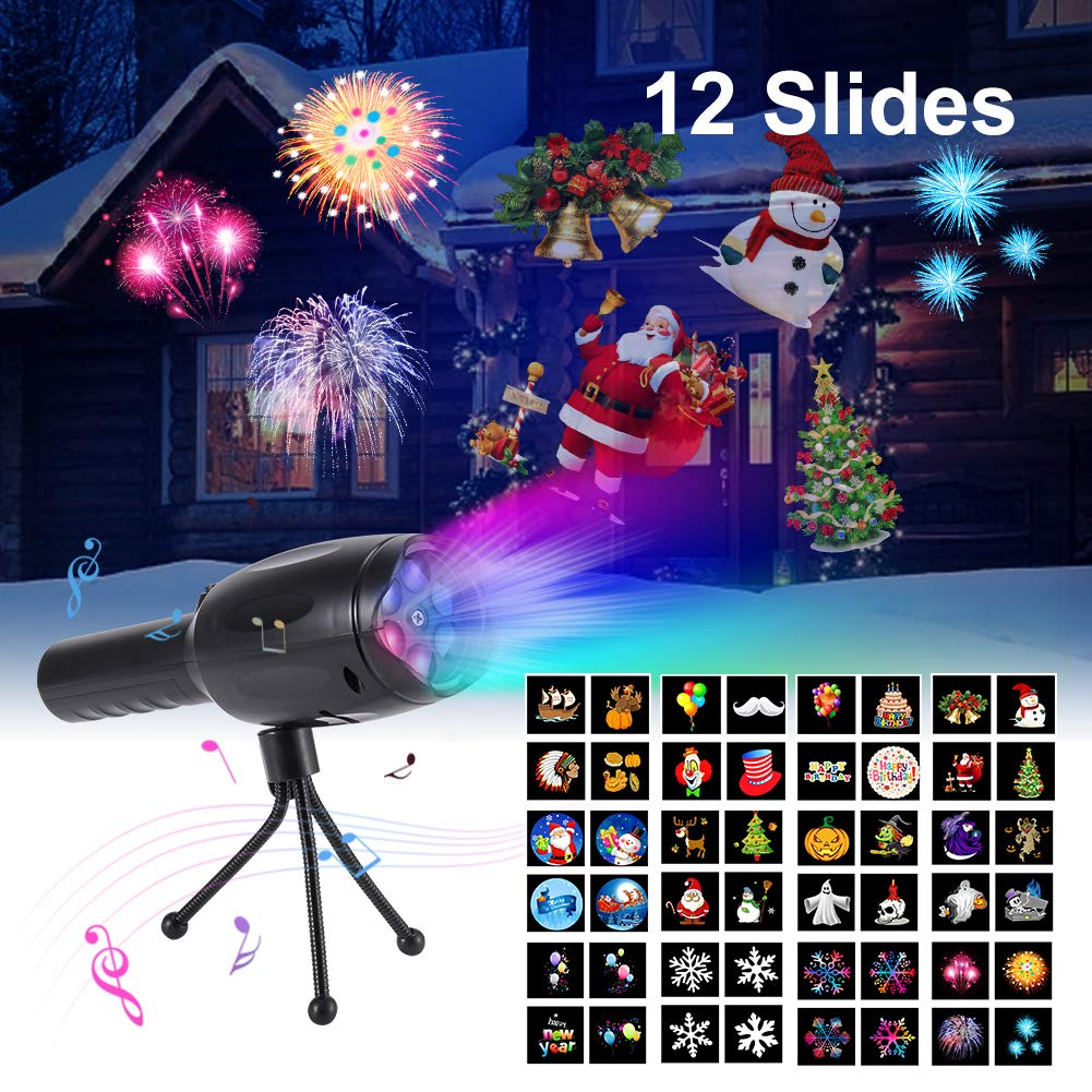 Christmas Projector lights - Projector Flashlight, Openuye Portable LED Projector Lights,12 Full Color Patterns Slides Projection with Tripod, Battery Operated Decoration Light & Kids Handheld Flashlight for Christmas, Halloween, Easter, Birthday, Home