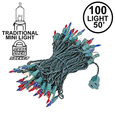 Novelty Lights 100 Light Red/White/Blue Christmas Mini String Light Set, Green Wire, Indoor/Outdoor UL Listed, 50' Long : Outdoor Lightstrings : Garden & Outdoor