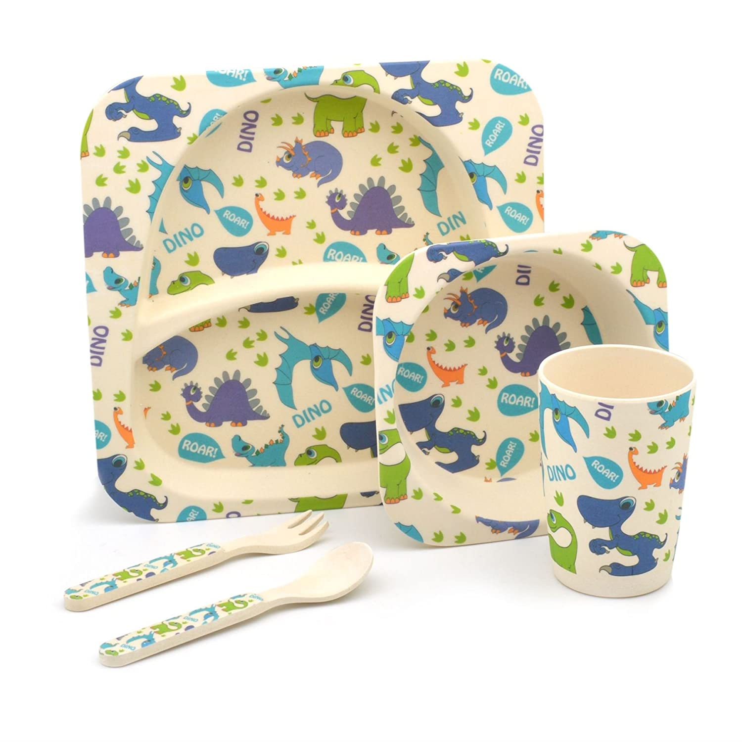 Childrens Bamboo Dinner Meal Set. Plate, Bowl, Cup, Knife & Fork Dinosaurs   B072LXGCD2