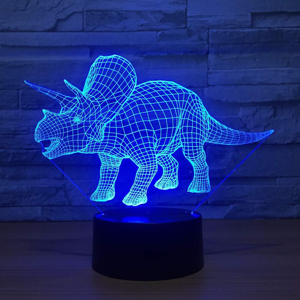 Dinosaurier 3D LED Nachtlicht Touch Switch Tischlampe USB 7 Farben Kinder Schlafzimmer Dekor Beleuchtung für Geschenk
