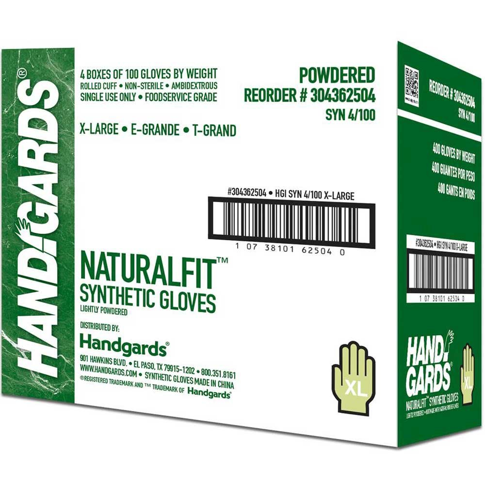 Handgards Extra Large Synthetic Powder Free Glove, 100 count per pack -- 400 per case. by HANDGARDS