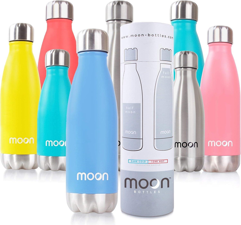 moon botellas - Botella de Agua de Acero Inoxidable, Botella Termica sin BPA - 12 Horas Caliente, 24 Horas Frías - 260ml, 500ml, 750ml – Doble Pared, Reutilizable, Respetuoso con el Medio Ambiente, a