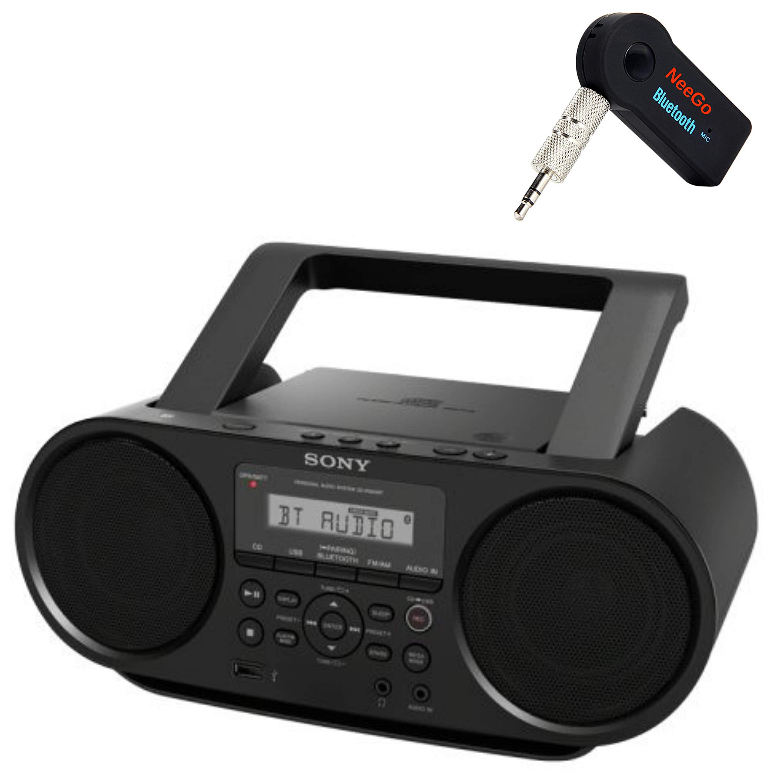 Sony Bluetooth Portable Cd Player Stereo Sound System Bundle/Digital Tuner AM/FM Radio Cd Player Mega Bass Reflex Stereo Sound System Included A NeeGo Wireless Bluetooth Receiver by NEEGO