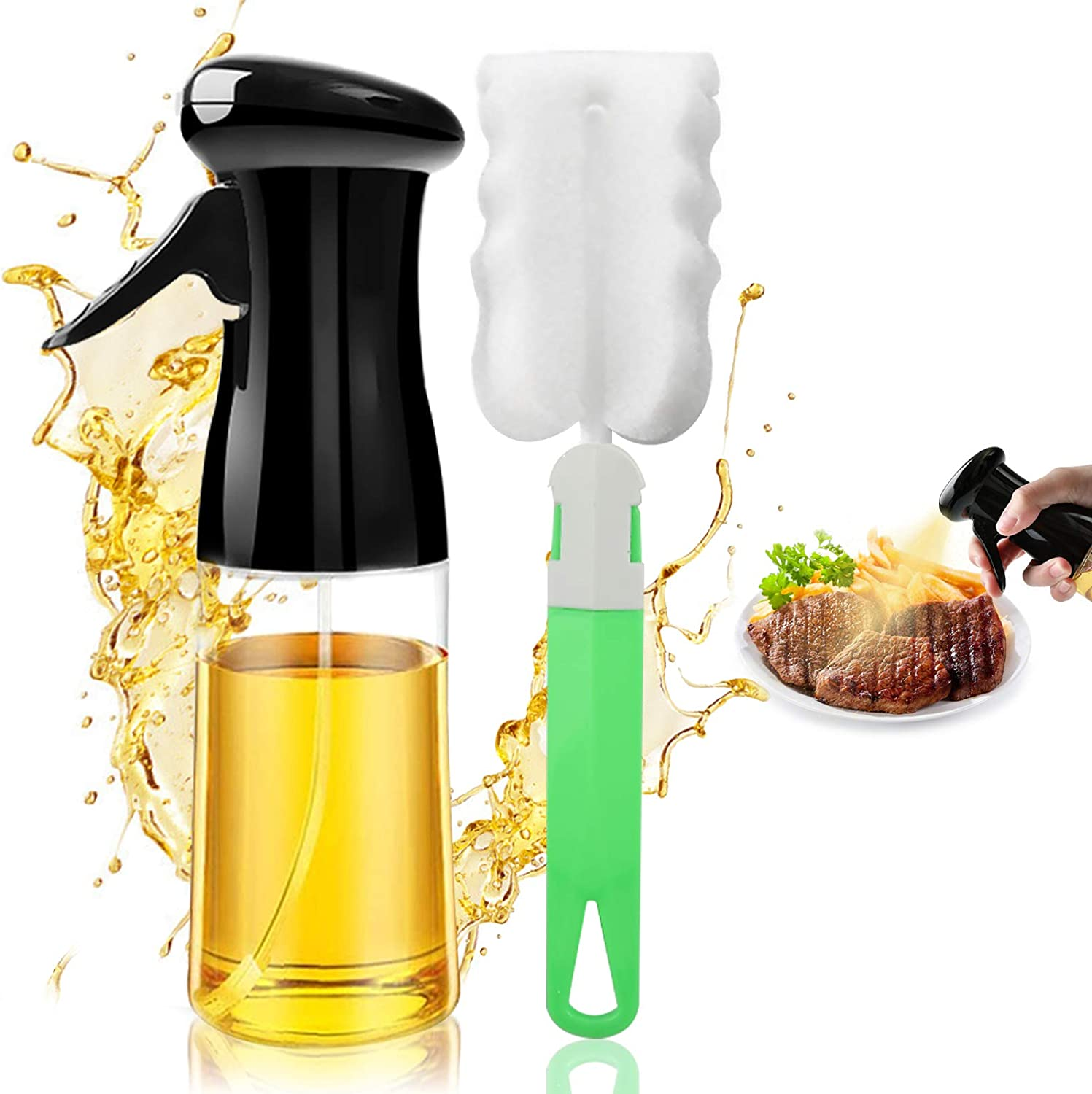 Oil Sprayer for Cooking, Reusable Oil Spray Bottle with Brush Refillable Olive Oils Dispenser, Versatile Food Grade Vinegar Spritzer PET Plastic Bottle for Air Fryer Kitchen BBQ Baking 7Oz/200ML Black