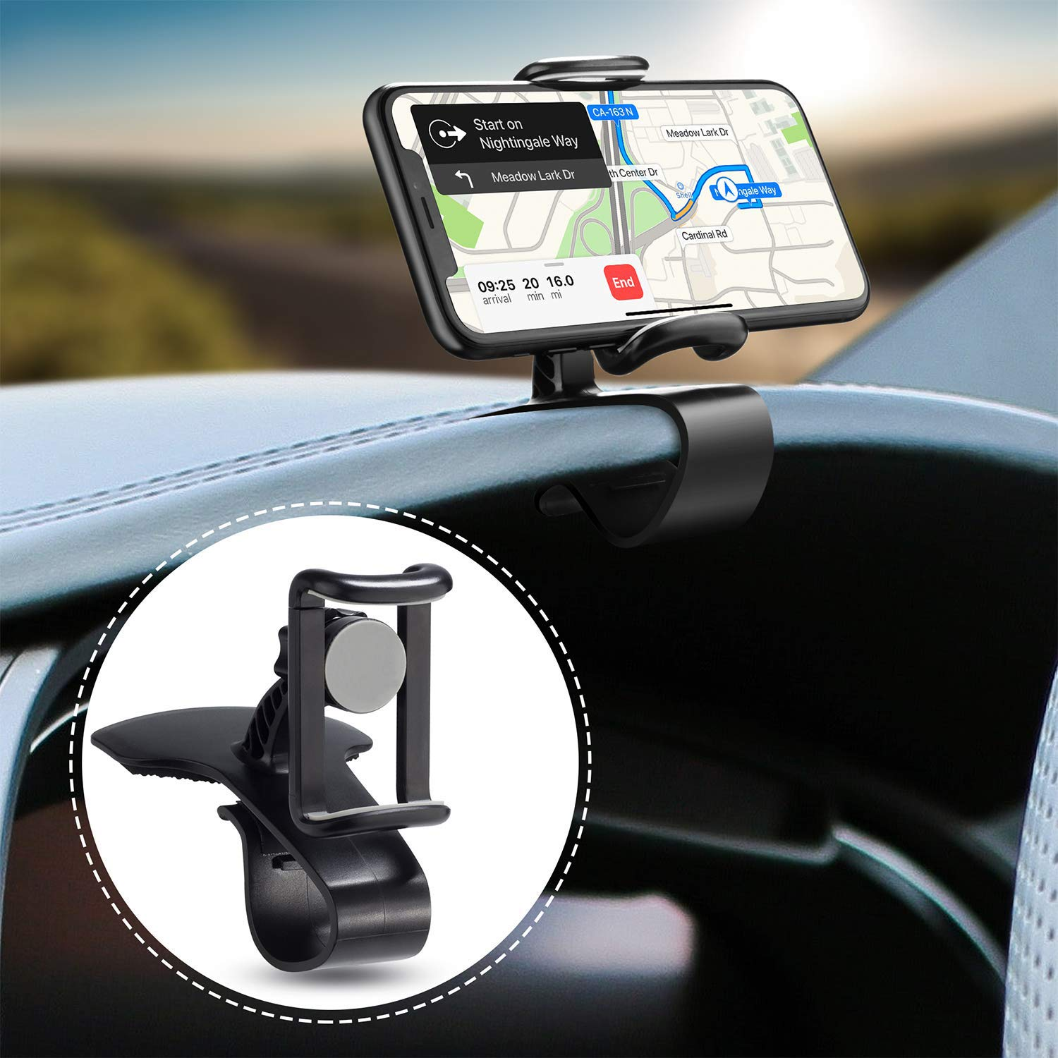 Car Phone Mount, 2 in 1 Universal Cell Phone Holder Car Air Vent Holder Dashboard Mount for iPhone Xs Max X 8 Plus 7 Plus 6S Samsung Galaxy S10 S9 S8 Edge S7 Note 9 Pixel 3 LG Nexus V40 G7 Xperia XZ3