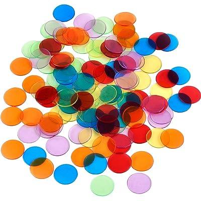 120 Piezas de Contador de Color Transparente Marcador de Plástico Chips Bingo con Bolsa de Almacenaje: Juguetes y juegos