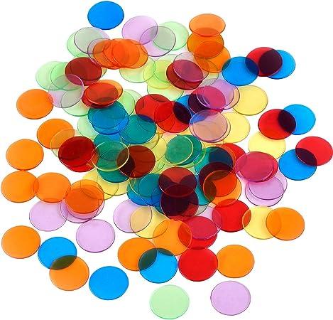 100 Piezas de Contador de Transparente Marcador de Pl/ástico Chips Bingo 0.75 x 0.08 pulg para matem/áticas o Juegos
