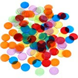 Shappy 120 Pieces Transparent Color Counters Counting Bingo Chips Plastic Markers with Storage Bag