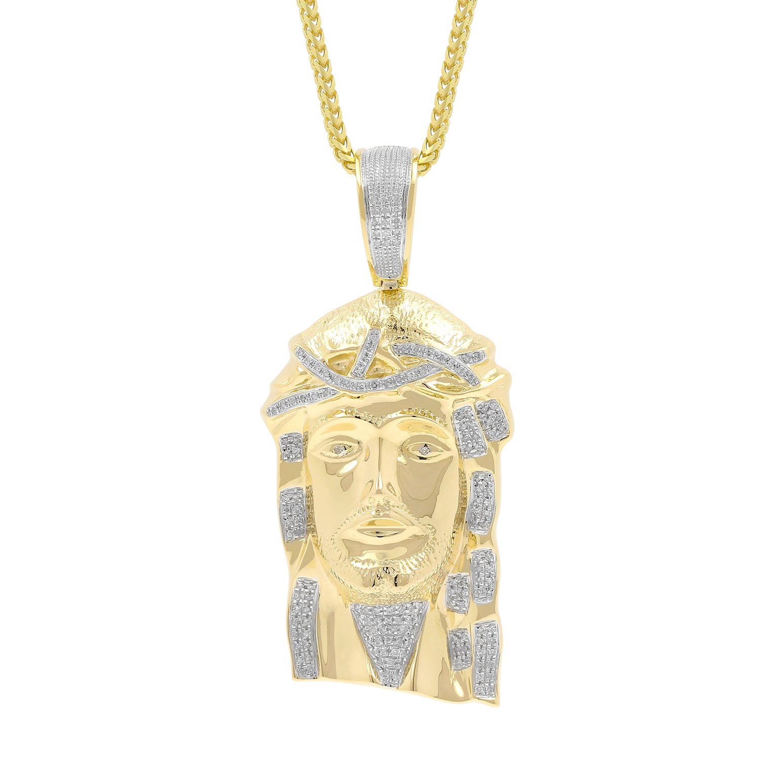 0.52ct Diamond Jesus Face Religious Mens Hip Hop Pendant in Yellow Gold Over 925 Silver (I-J, I1-I2) by Isha Luxe-Hip Hop Bling (Image #1)