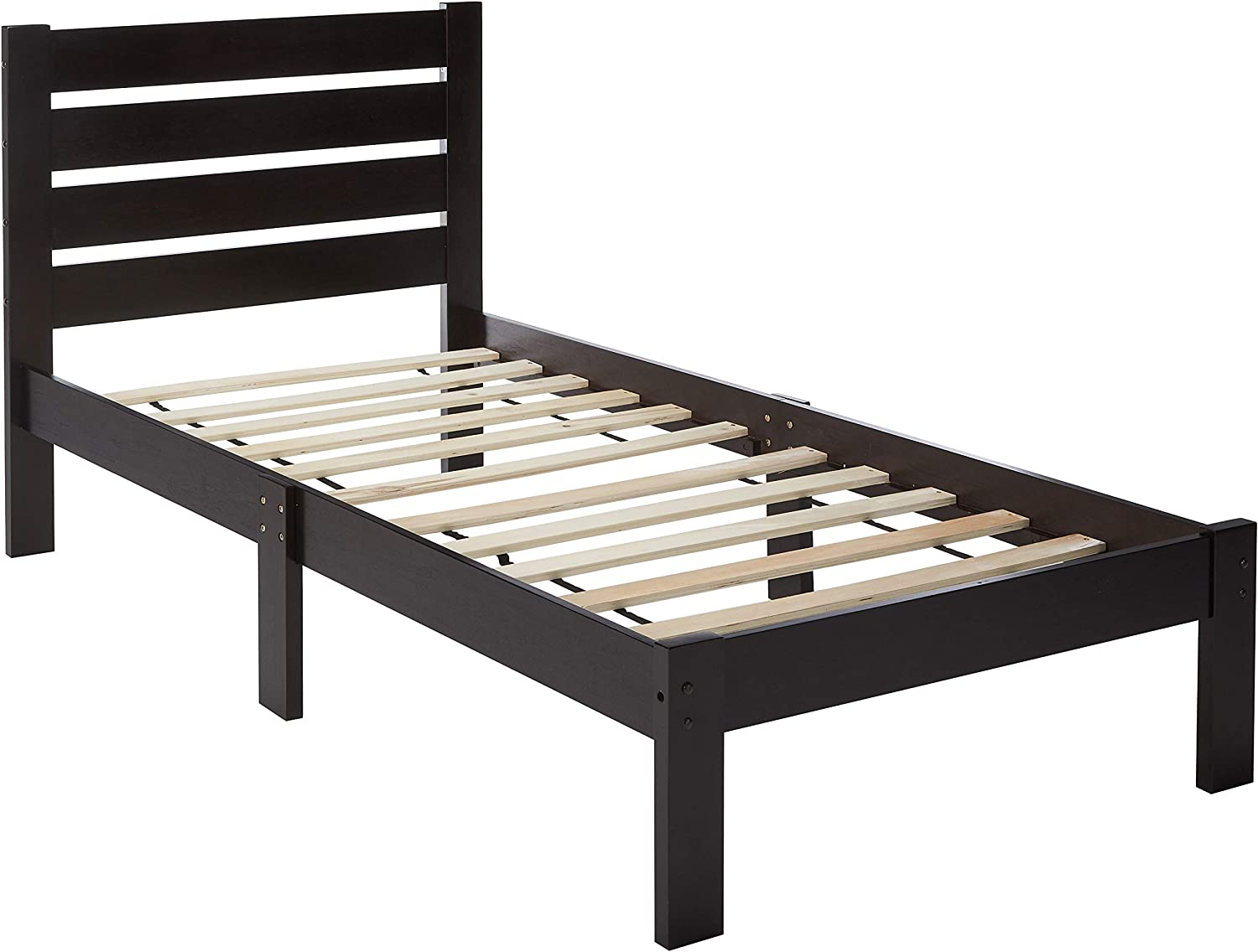 Major-Q Traditional Simple Espresso Finish Wood Frame Twin Bed Bedroom,