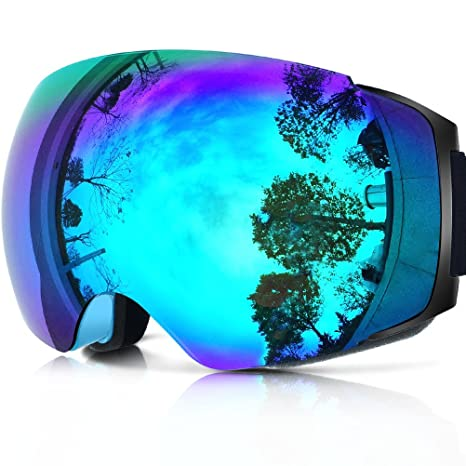 Review Zionor X4 Ski Snowboard Snow Goggles Magnet Dual Layers Lens Spherical Design Anti-Fog UV Protection Anti-Slip Strap for Men Women