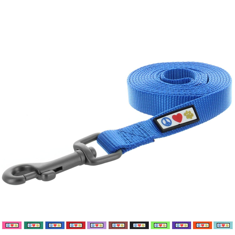 Pawtitas Pet Soft Adjustable Solid Color Nylon Puppy / Dog Leash 6 feet Medium / Large 1 Inch Blue