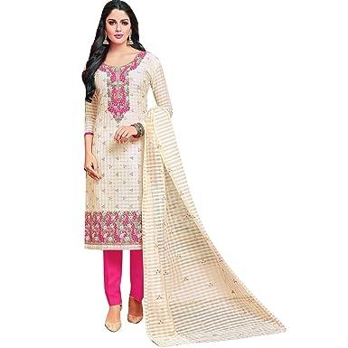Ladyline Readymade Salwar Kameez Cotton Silk Embroidered Indian Pakistani Salwar Suit Dress