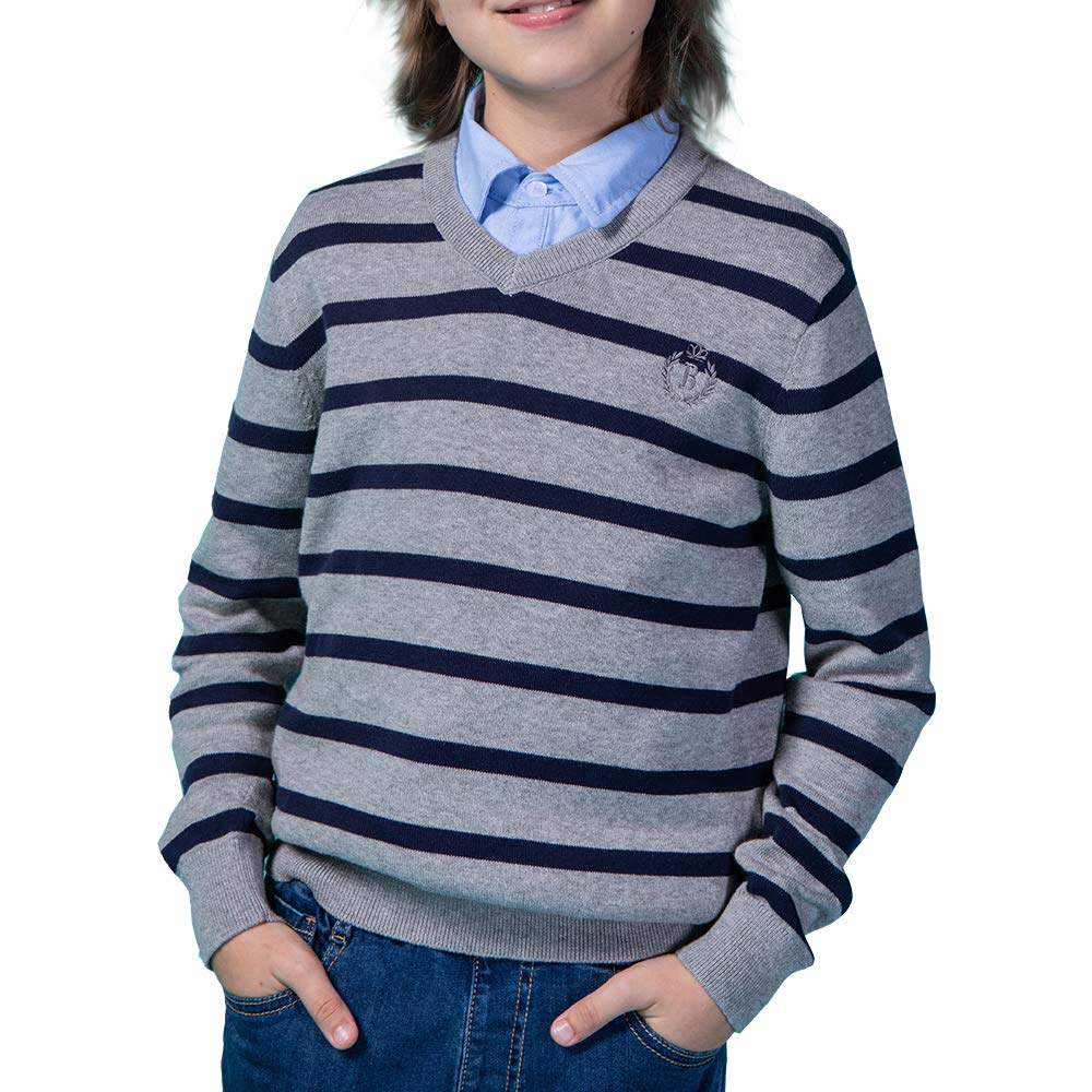 Benito & Benita Boys Uniform V-Neck Stripe Sweater Long Sleeve Pullover Sweater 3-12Y Homecoming Gift Gray