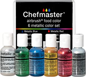 Chefmaster - Metallic Airbrush Kit - Airbrush Food Coloring - 6 Pack - Vibrant, Highly Pigmented Sheen, Fade-Resistant, Works With Any Airbrush Tool, Achieve Amazing Effects & Designs