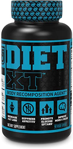 Diet XT Weight Loss Supplement – Caffeine Free Body Recomposition Agent, Fat Burner Muscle Builder – Glucose Control Mood Support w KSM-66, Berberine, Chromax More – 60 Keto Diet Pills