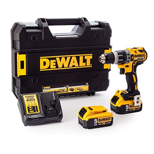 Dewalt DCD796P2 XR Brushless Combi Drill with 2 x 5.0 Ah Lithium-Ion Battery Packs, 18 V, Yellow/Black, Set of 7 Piece