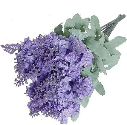 Fiori Color Viola.Bouquet Con 10 Fiori Di Lavanda In Seta Colore Viola Per La
