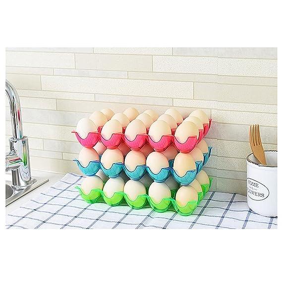 Amazon.com: eDealMax plástico del hogar 15 ranuras Huevos de almacenamiento de titular caja de la caja recipiente transparente verde: Kitchen & Dining