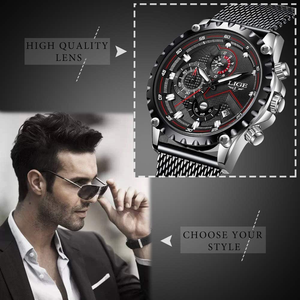 LIGE Homme Montres Militaire Chronographe Étanche Acier Inoxydable Montre Classique Business Quartz Montres pour Les Hommes Model 3