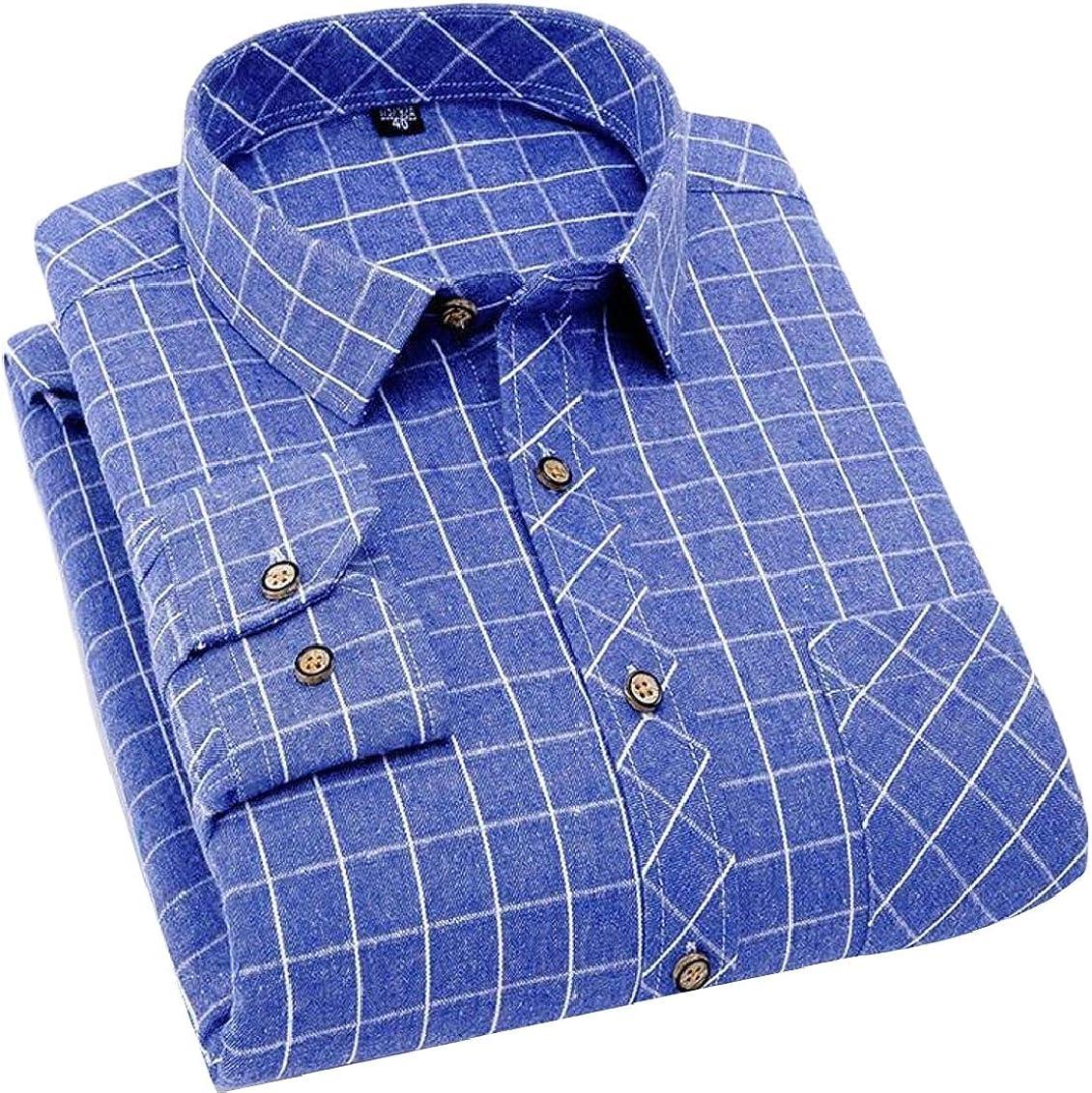 Hokny TD Mens Casual Slim Button Down Plaid Long Sleeve Work Shirt