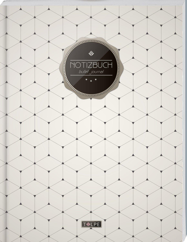 """TULPE Bullet Journal A4 """"C110 Schlichtes Muster"""" (140+ Seiten, Vintage Softcover, Punktkariertes Papier – Punktraster Notizbuch, Handlettering, Skizzenbuch, Zeichenbuch) Taschenbuch – Großdruck, 17. August 2017 Tulpe BuJo's 1975619080"""
