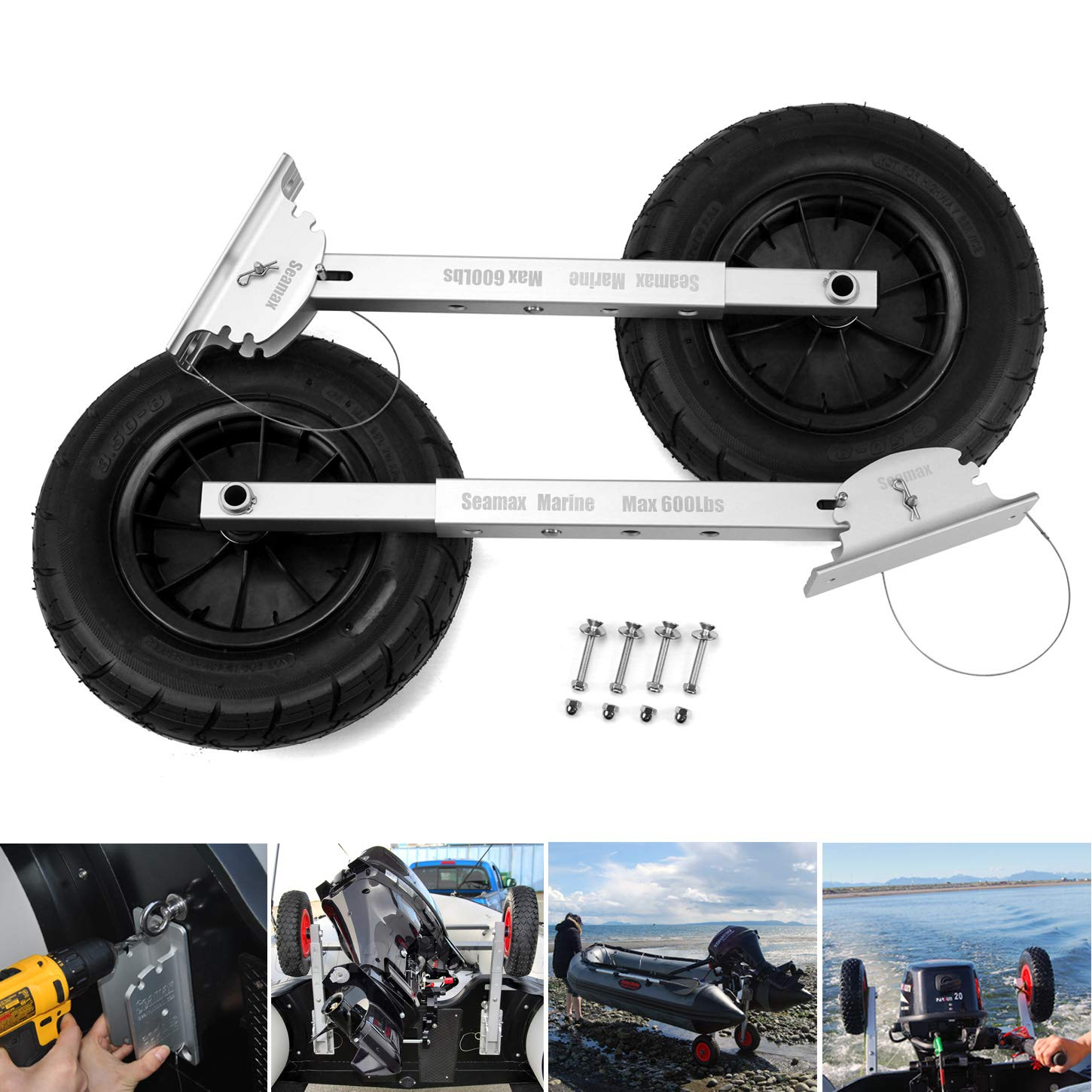 SEAMAX Deluxe 4 by 4 Boat Launching Wheels System for Zodiac Type Inflatable Boats and Aluminum Boats by Seamax