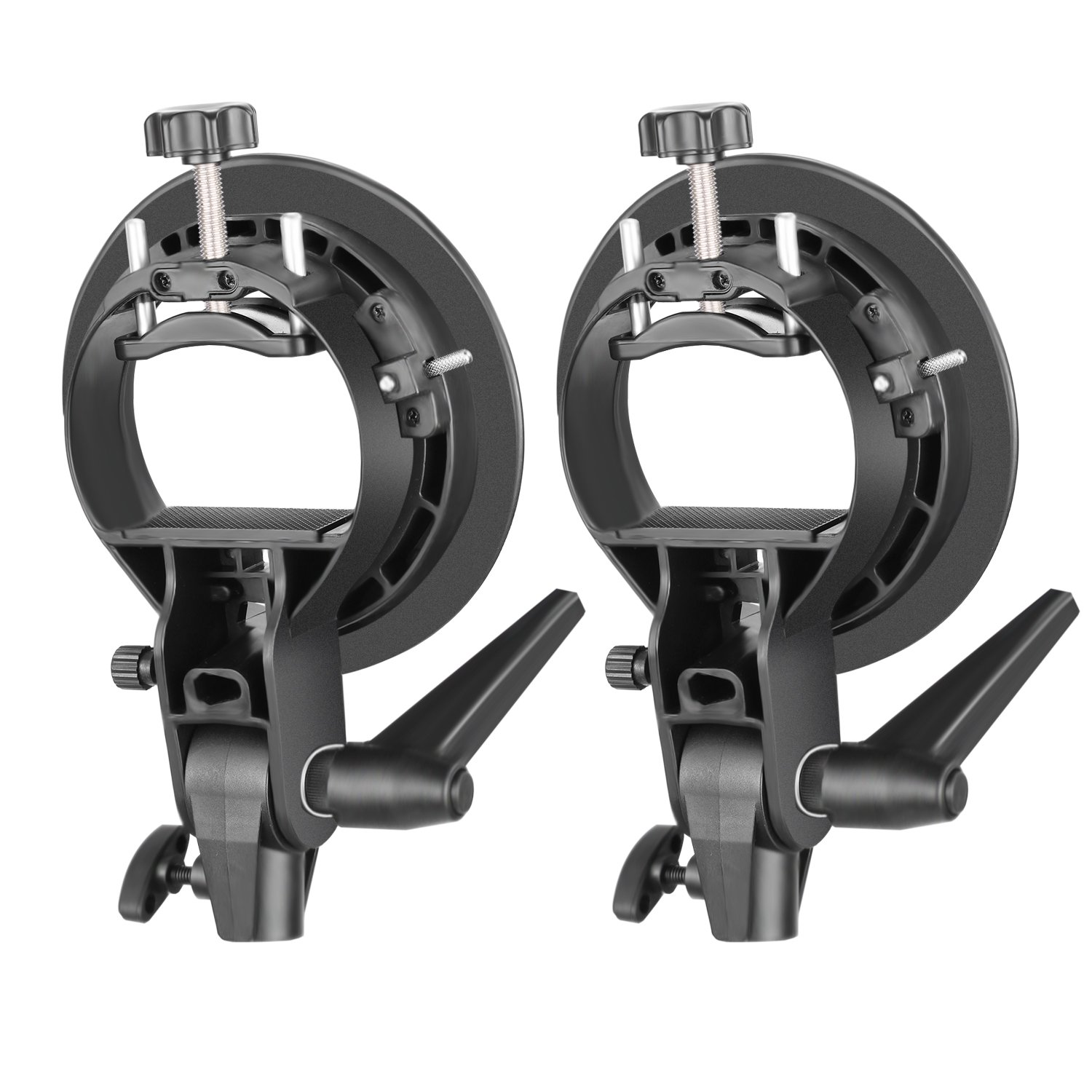 Neewer 2 Pieces S-Type Bracket Holder with Bowens Mount for Speedlite Flash Snoot Softbox Beauty Dish Reflector Umbrella by Neewer