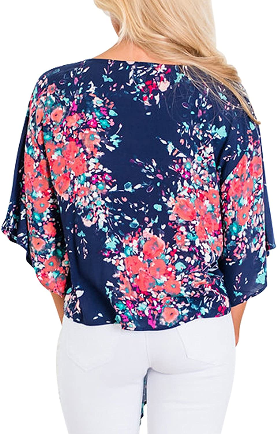 Elapsy Womens Floral V Neck Button Up Cami Tank Top Knot Front Sleeveless Blouse T Shirts Blue