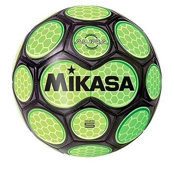 Balón de fútbol por Mikasa Sports - Aura tamaño 5, Negro/Neon Verde: Amazon.es: Deportes y aire libre