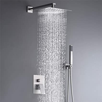 Rain Shower System Complete Shower Faucet Set 10 Inch Wall Mounted Rainfall Shower Head With Handheld Rough In Valve Body And Trim Kit