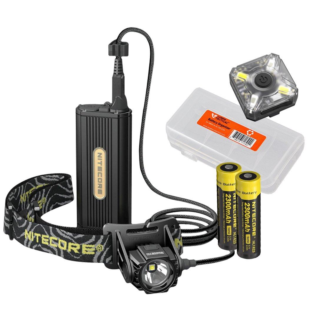 Premium Bundle: Nitecore HC70 1000 Lumen Rechargeable Headlamp & NU05 Red/White Emergency Signal w/ 2x 2300mAh 18650 Batteries and LumenTac Battery Organizer - Ideal for Caving, Exploring, Outdoors