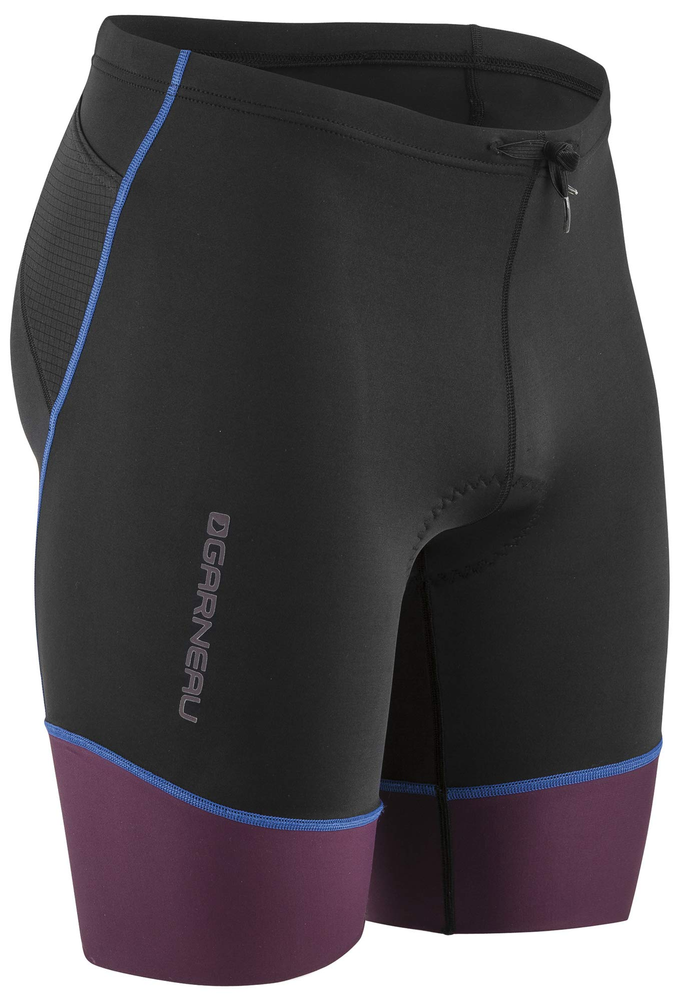 Louis Garneau Men's Tri Comp Lightweight, Breathable, Padded Triathlon Bike Shorts, Black/Purple/Blue, Medium