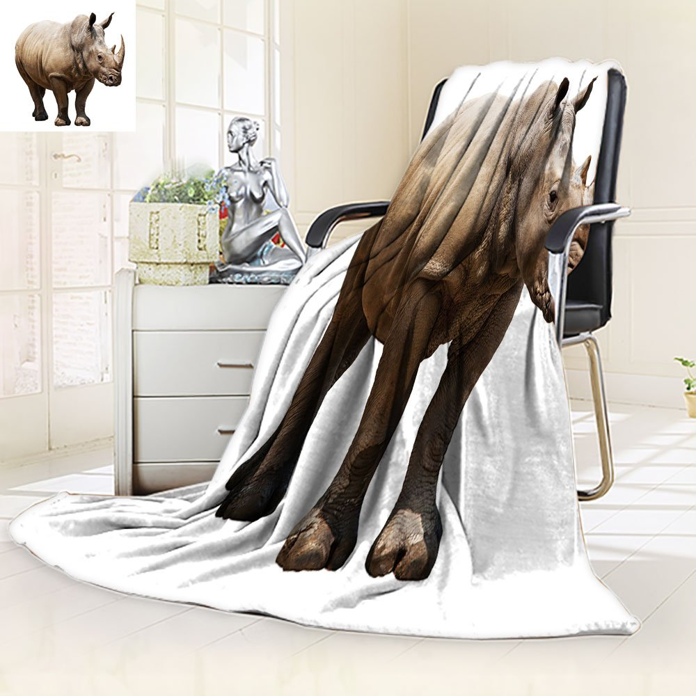 aolankaili Unique Custom Blanket Huge Rhino Isolated on White,Silky Soft,Anti-Static,2 Ply Thick,Hypoallergenic Printed Fleece Blanket.(W60 x L72)