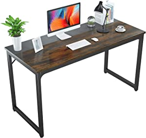 """Foxemart 55 Inch Computer Desk Modern Office Table, Sturdy 55"""" PC Laptop Writing Gaming Study Desk for Home Office Workstation, Rustic Brown and Black"""