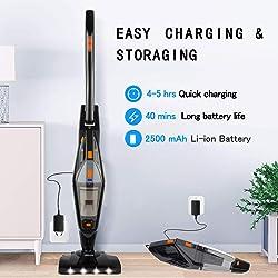 Cordless Vacuum, Hikeren Stick Vacuum Cleaner, 12KPa Lightweight 2 in 1 Stick Handheld Vacuum