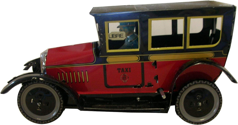 CAPRILO Juguete Decorativo de Hojalata Taxi Rojo Réplicas de Vehículos de Cuerda. Juguetes y Juegos de Colección. Regalos Originales. Decoración Clásica.