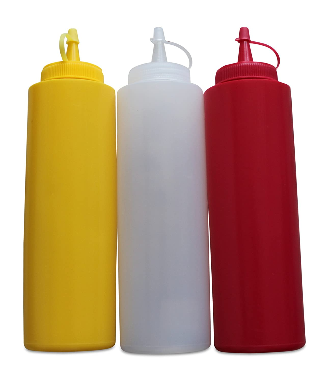 salse Gastro Set greehome Ketchup Senape Maionese 400ML | Sauce Dispenser Dosatore | bottiglia | Sauce Dispenser salse | | Rosso Giallo Bianco greework