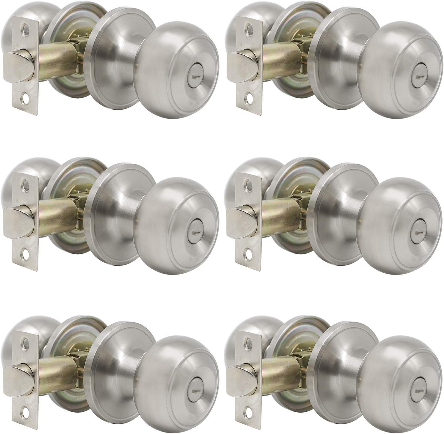 6 Pack Probrico Round Interior Door Knob Door Handle Lock Half Dummy Keyless Door knobs Satin Nickel