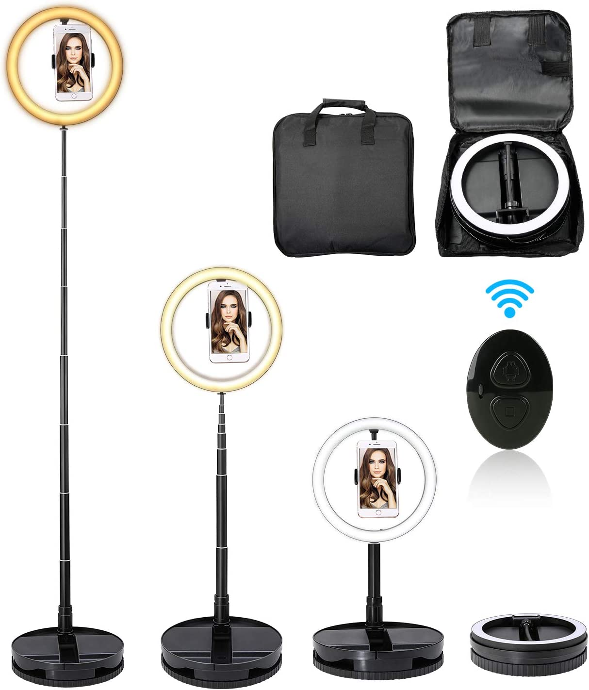 iEGrow Ring Light 18 Inches Pantalla T/áctil para C/ámara y Tel/éfono 2700K-5500K Anillo de Luz con Tripode y Bolsa de Viaje Aro de Luz para Movil Fotografia Youtube Maquillaje