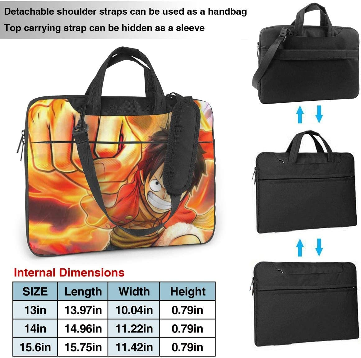 Laptop Sleeve Bag Anime One Piece Monkey D Luffy Laptop Sleeve Case Cover 15.6 inchTablet Briefcase Notebook Sleeve Case