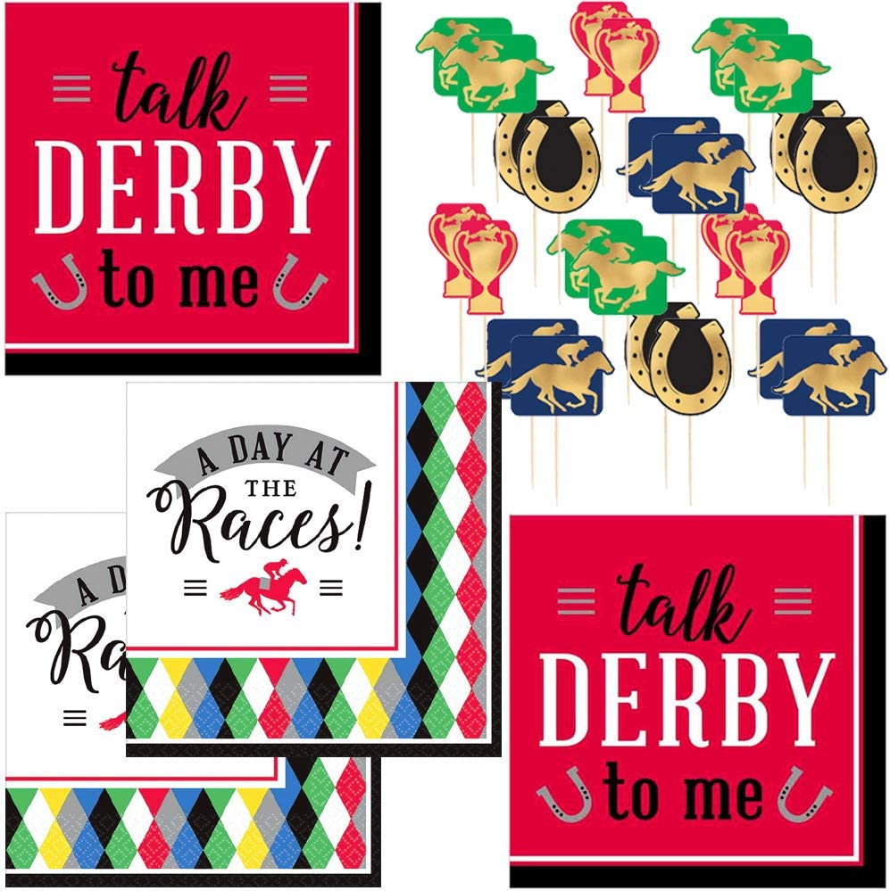 Kentucky Derby Horse Racing Party Supplies - Talk Derby to Me and Day at the Races Cocktail Napkins (64 Count) and Race Horse Picks (24 Count)