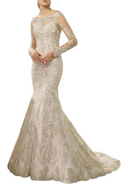Amazon.com: Nuevo Deve Newdeve sirena vestidos de novia de ...