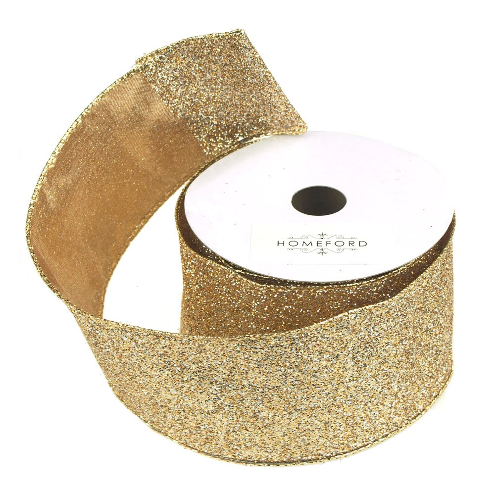 Metallic Glitter Wired Gold/Silver Ribbon
