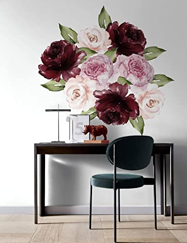 Amazon.com: Murwall Peony Floral Wall Decal Red Rose Wall Stickers ...