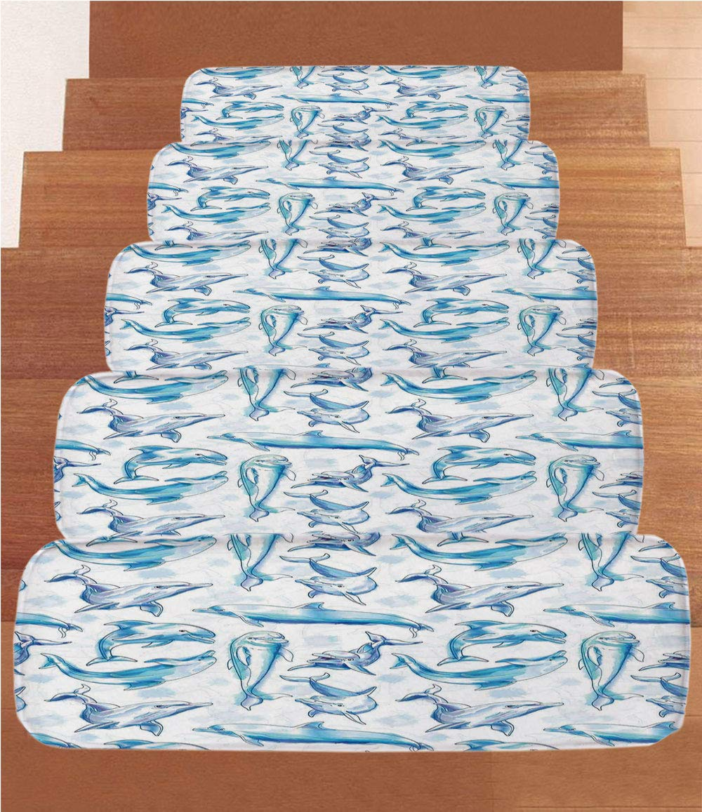 iPrint Non-Slip Carpets Stair Treads,Sea Animals Decor,Sketch of Bottlenose Dolphins Playing Laughing in Ocean Life Print,Turqouise White,(Set of 5) 8.6''x27.5''